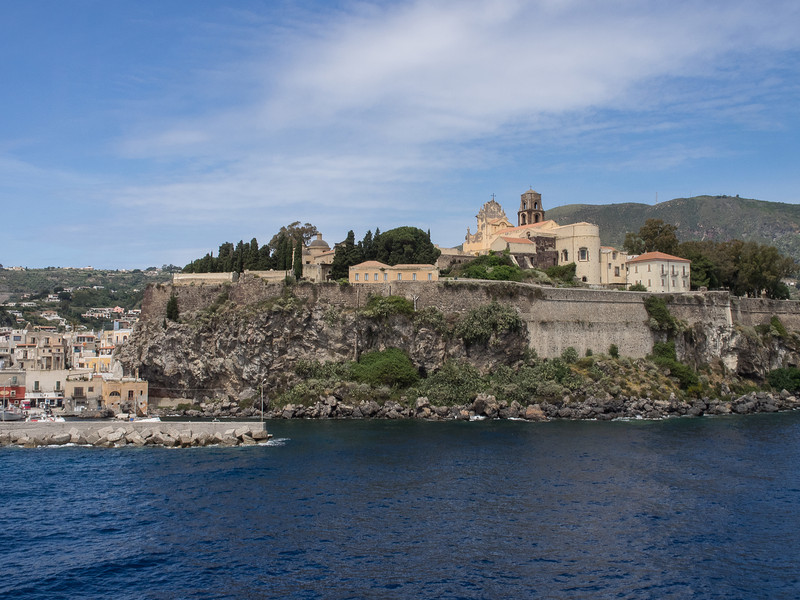 Lipari Acropolis from the sea with the Cathedral (11 th. Century Norman) and Castle