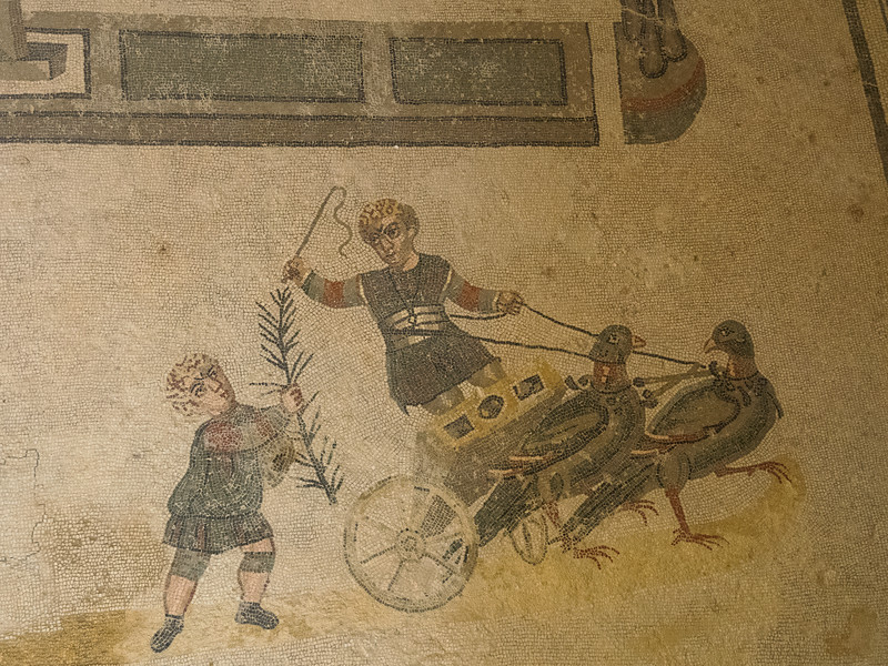 Scenes of children racing Chariots drawn by birds.  Thought to be a nursery