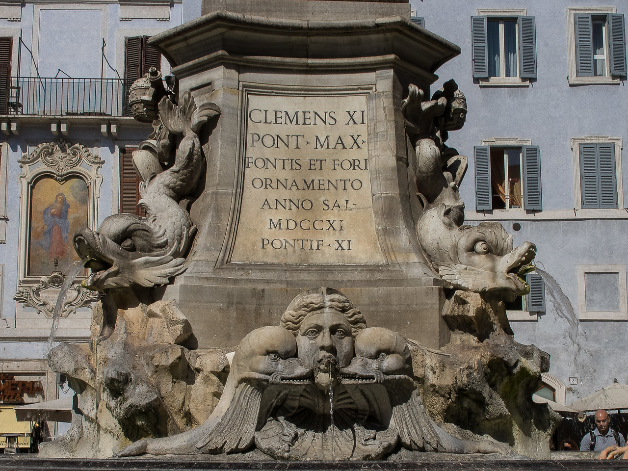 Fountain donated by Pope Clemens the 11th. Supporting an Egyptian obelisk 1721