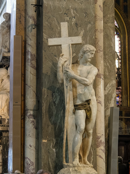 Michelangelo's statute of a naked Christ Bronze Loincloth added later