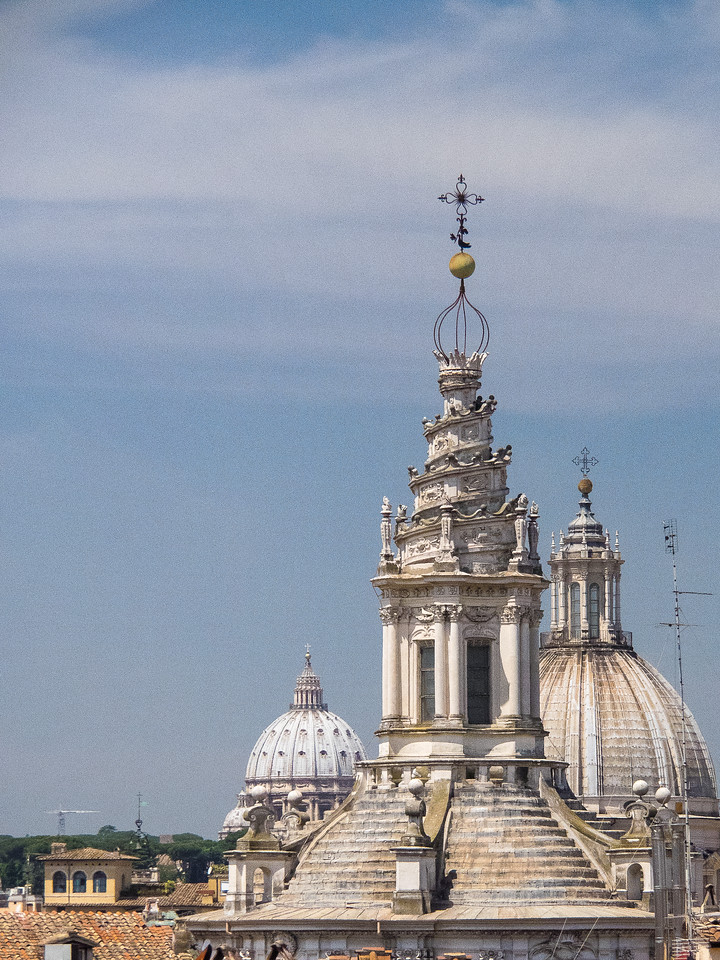 Church domes from the hotel roof garden.  Dome closest with spiral is Sant Ivo