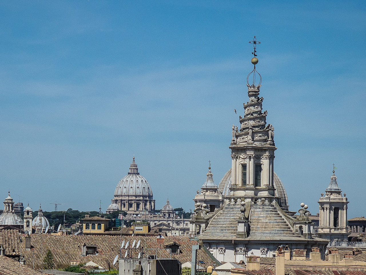 Roman Skyline looking West from the hotel.  Spiral dome from Sant Ivo alla Sapienza 1660 Baroque