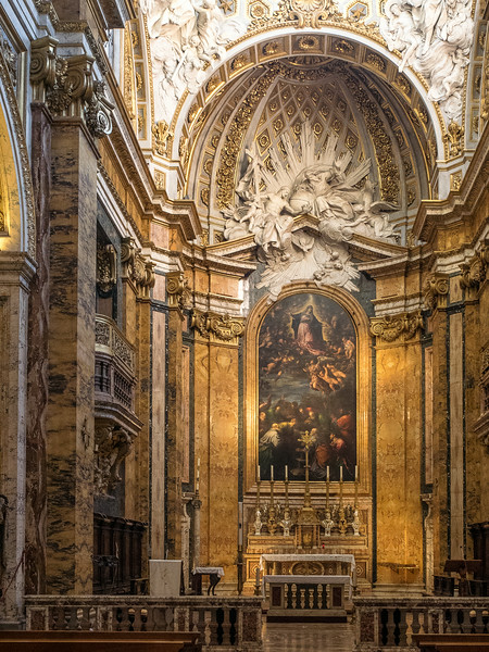 "San Luigi Main Altar ""The Assumption of the Virgin"" overseen; by the Trinity and Angels"
