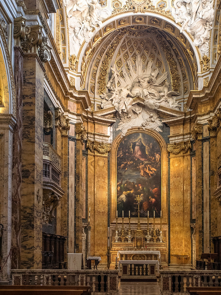 """San Luigi Main Altar """"The Assumption of the Virgin"""" overseen; by the Trinity and Angels"""