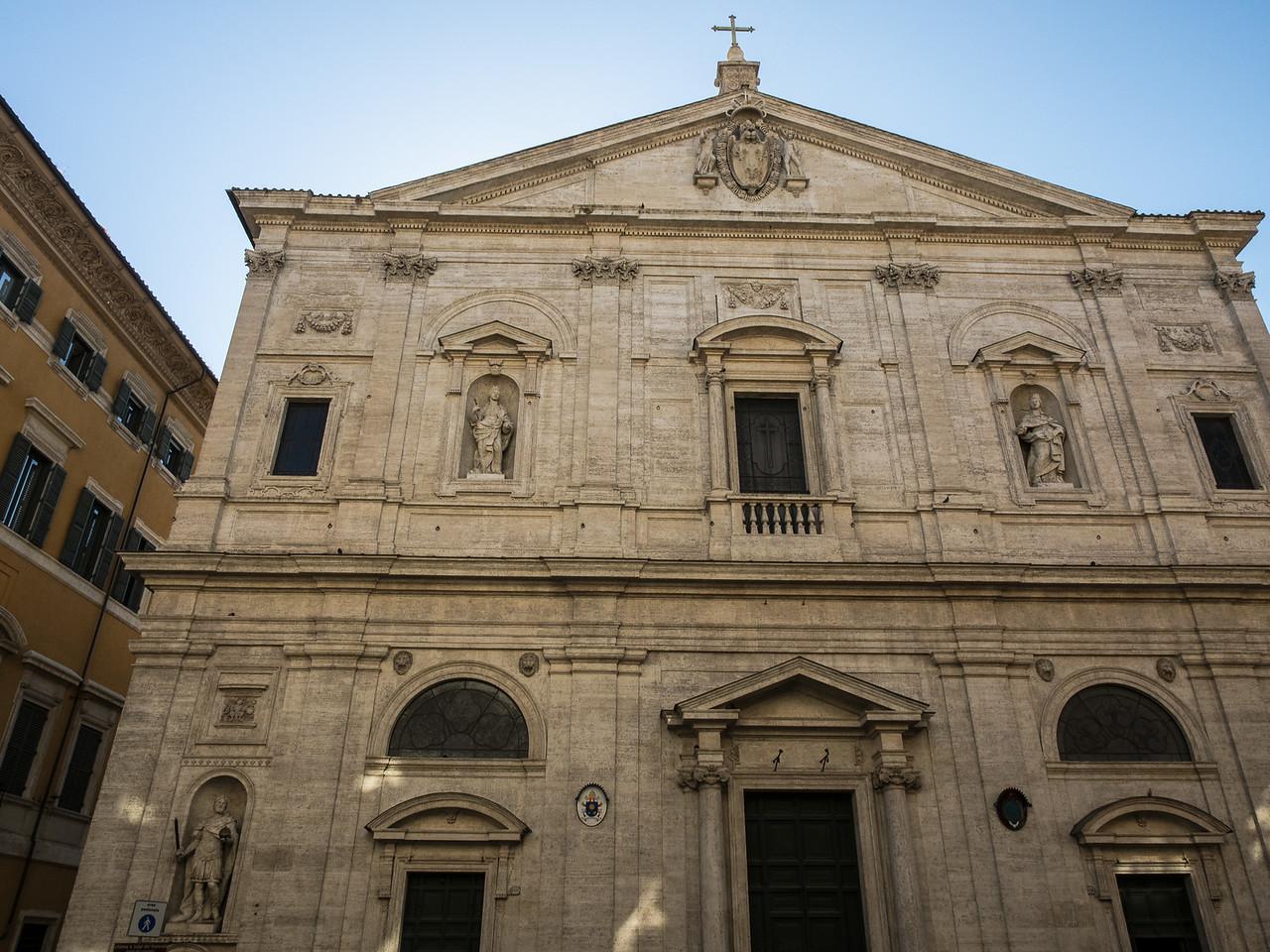 San Luigi dei Francese  1589 Dedicated to St. Louis (Louis IX King of france)  Travertine stone facade