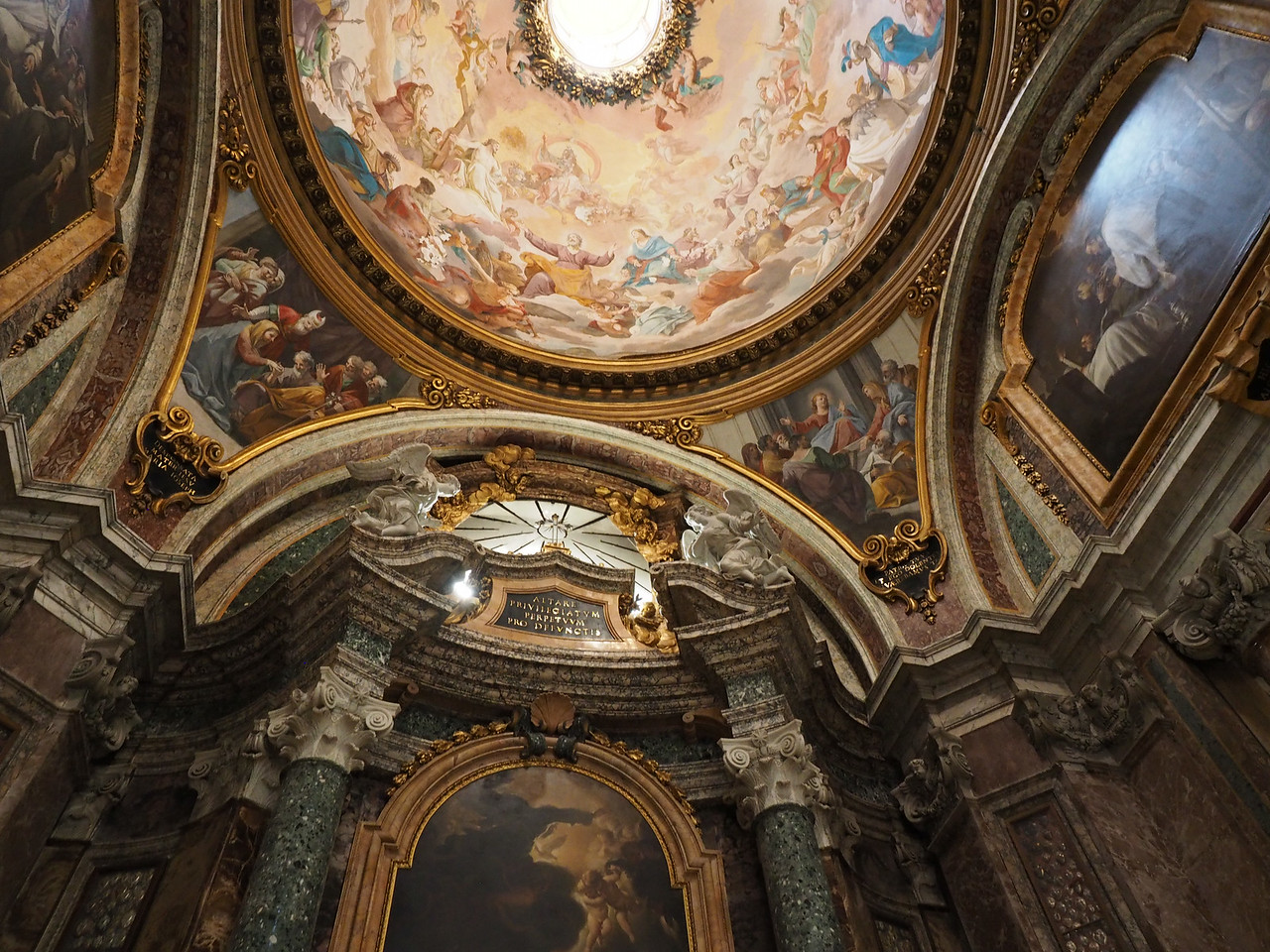 Church of Sant' Ignazio built 1626 -1685 False dome (actually flat canvas) by Andrea Pozzo Shows the Jesuit Missionary work in the Four Continents