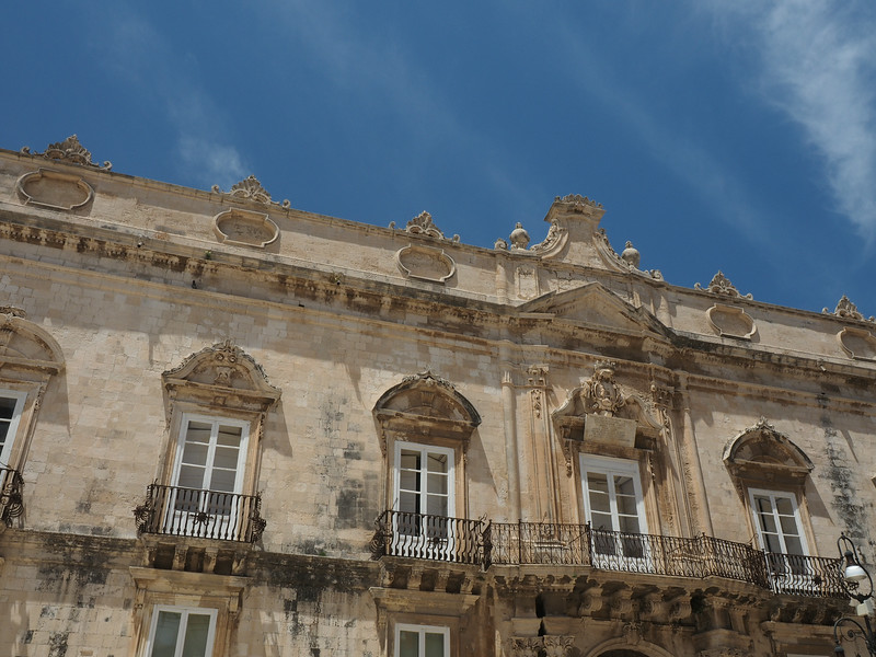 Building Facade near the cathedral in Ortigia, the original Greek settlement 730 BC