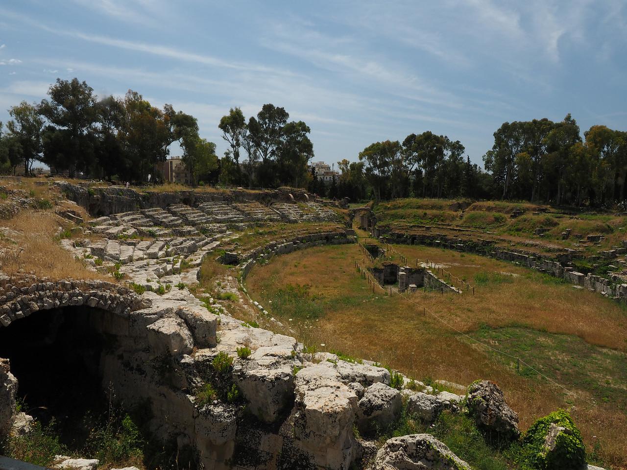Amphitheater (double theater stadium shape) Roman, first century AD.  Siracusa
