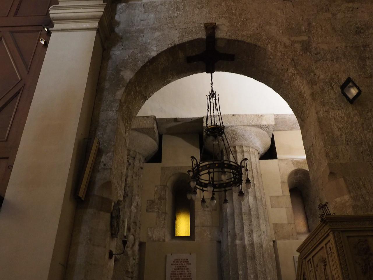 Chapel with chandelier and original Greek column