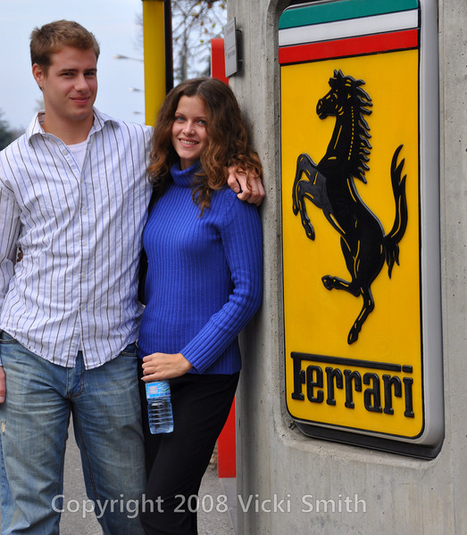 Randy and Amy, Superbike Concorso winners, in front of the Ferrari factory.  Maranello, Italy
