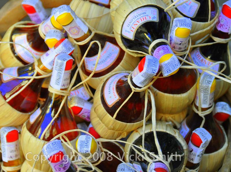 Florence, Italy<br /> Chianti bottles, Ponte Vecchio