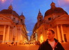 Rich Lambrechts in the Piazza del Popolo at dusk