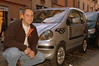 This car was so funny I asked Rich to pose with it. Flames and racing stickers and maybe 50cc's of motor.