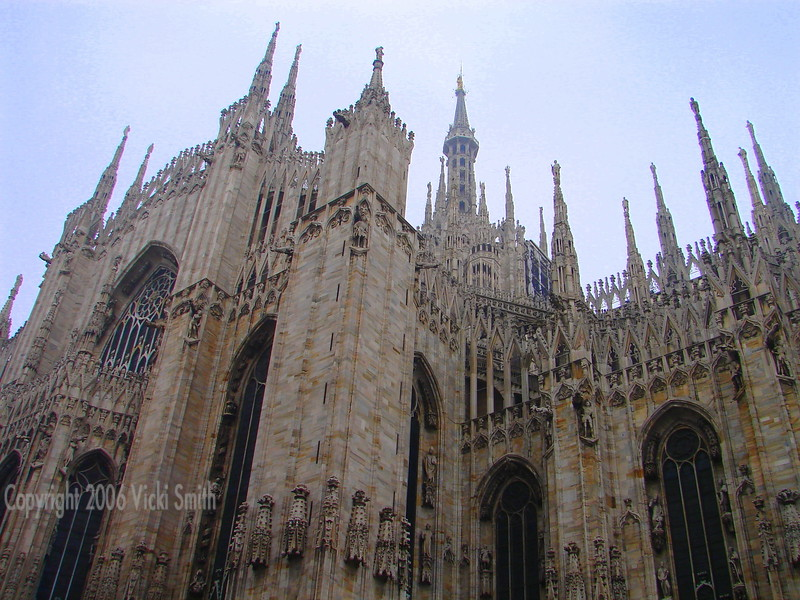 The gothic style of the Duomo cathedral in Milan is one of the most spectacular churches in the world.  To give you an idea of it's size, it comfortably holds 40,000 people. It's the 2nd largest cathedral in the world.
