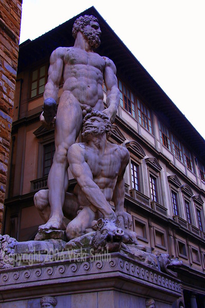 The Piazza Signoria is my favorite place in Florence, this is in front of the entrance to the Galleria by the Uffizi museum.
