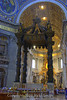 Bernini's Baldacchino, this stands 90 feet tall and was made with 927 TONS of dark bronze taken from the roof of the Pantheon's roof. It only took him 9 years which frankly I find amazing