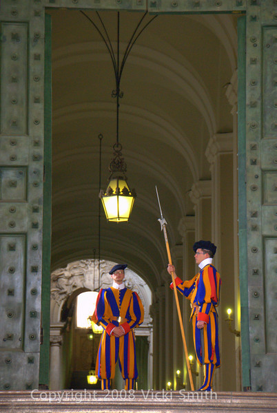 Two of the Swiss Guard in traditional uniforms.