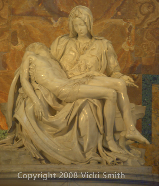 Michelangelo's Pieta. The only sculpture he ever signed, the story is he debuted it and overheard someone saying he didn't do it himself. Sometime that night he came in and signed it.