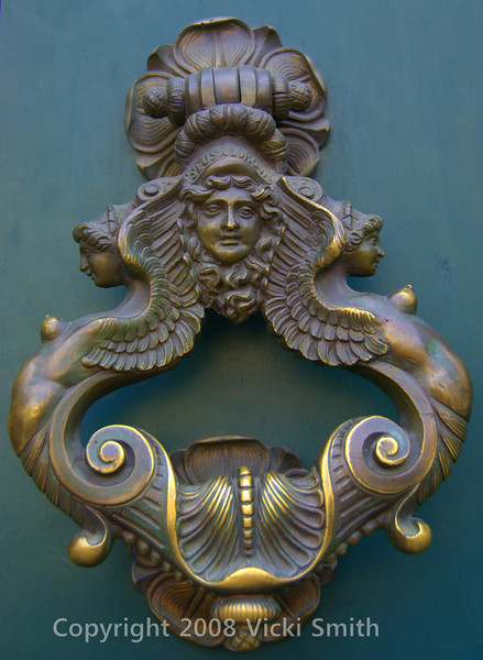 I love photographing old doors and if there is a better place than Italy to do it, I haven't been there yet. The Pantheon has 20 ton bronze doors that have been welcoming patrons for 1800 years, kind of hard to top. <br /> This is a door knocker I saw on my walk.