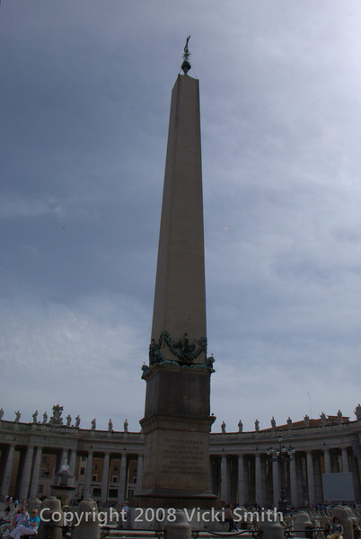 In the center of St. Peters square stands this 25.5-meter-tall obelisk, which dates from 13th-century BC Egypt and was brought to Rome in the 1st century to stand in Nero's Circus some 275 yards away. It was moved to its present location in 1585. The task took four months and is said to have been done in complete silence on pain of death. If you include the cross on top and the base, the obelisk reaches 40m. There are drawings of the pully system they used to raise it, it was incredibly complicated and it's a wonder they managed it