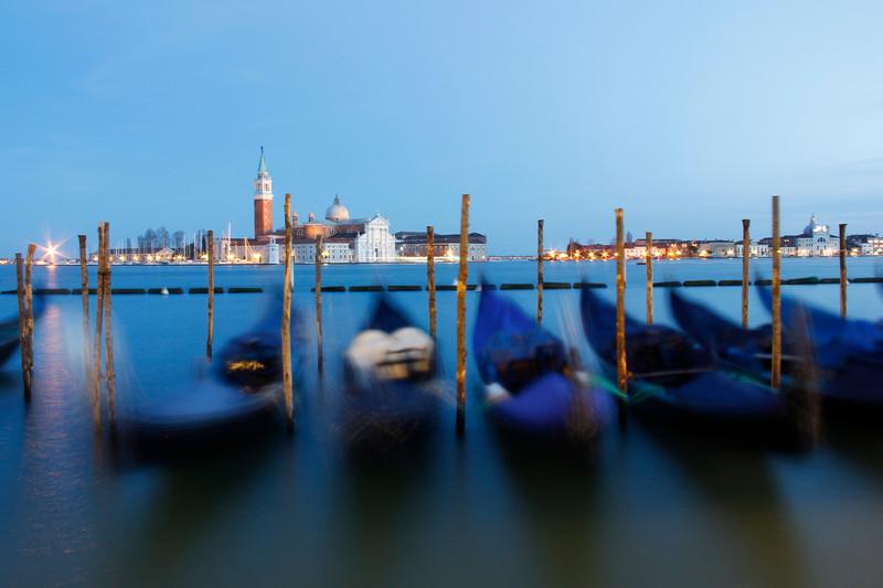 Gondolas, blue hour, Venice