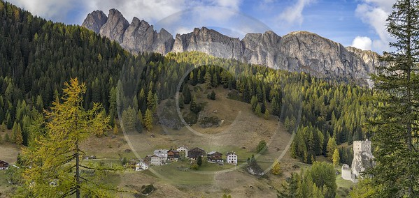 Castello Village Autumn Tree Color Dolomites Panorama Viepoint Fine Art Pictures Modern Art Print - 024192 - 18-10-2016 - 16102x7633 Pixel