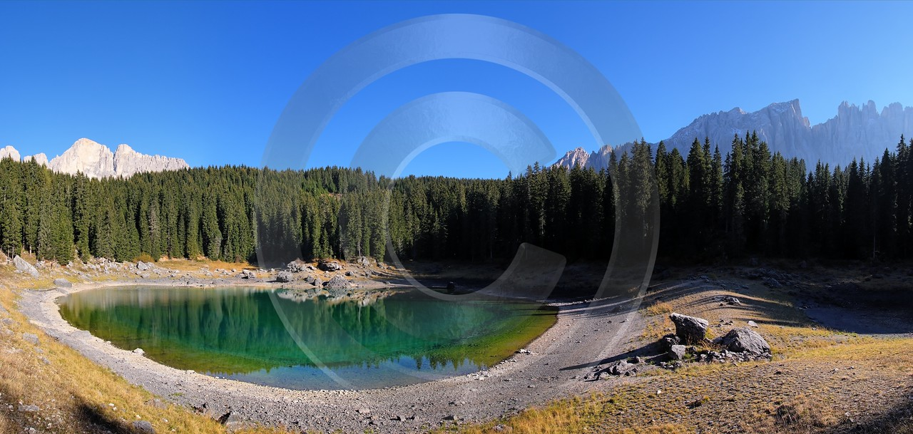 Karersee Lago Di Carezza Karerpass Tirol Landschaft Modern Art Print Stock Photos Tree Coast - 001260 - 15-10-2007 - 9036x4298 Pixel