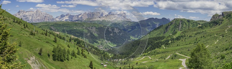 Passo Pordoi Pass Summer Dolomites Panoramic Alps Flower Fog Sunshine Landscape Fine Art Photo - 024865 - 16-06-2018 - 25522x7639 Pixel
