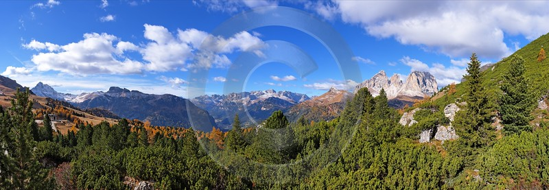 Passo Pordoi Pass Panorama Canazai Val Di Fassa Art Photography For Sale Modern Wall Art - 001481 - 19-10-2007 - 12106x4196 Pixel