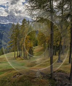 Santa Cristina Valgardena Sassolungo Langkofel Autumn Dolomites Panoramic City Fine Art Photo Grass - 024331 - 21-10-2016 - 7572x9025 Pixel