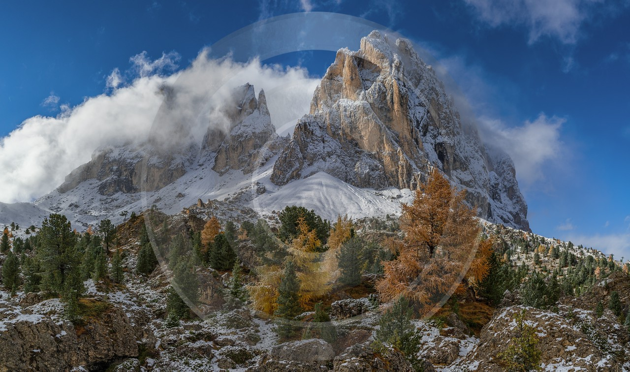 Sassolungo Passo Pordoi Wolkenstein South Tyrol Italy Panoramic Country Road Fine Art Landscapes - 017360 - 15-10-2015 - 12446x7348 Pixel
