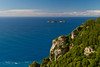 A view of the rugged coastline of the Amalfi coast and the Gulf of Salerno, Italy.