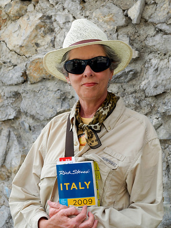 Positano....Joyce enjoying one of her favorite subjects and authors.