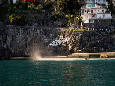 Positano...Emergency airlift to Rome of diver suffering from the bends.
