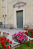 A church door with rose bushes in Annunziata, Campania, Italy.