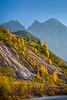 The Dolomite mountain range with fall foliage color near Auronzo di Cadore, Belluno, Veneto, northern Italy, Europe.