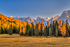 The Dolomite mountain range with fall foliage color near Auronzo di Cadore, Belluno, Veneto, northern Italy, Europe.