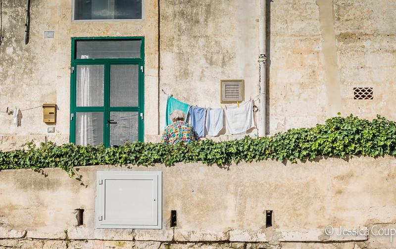 Nonna Hanging Laundry