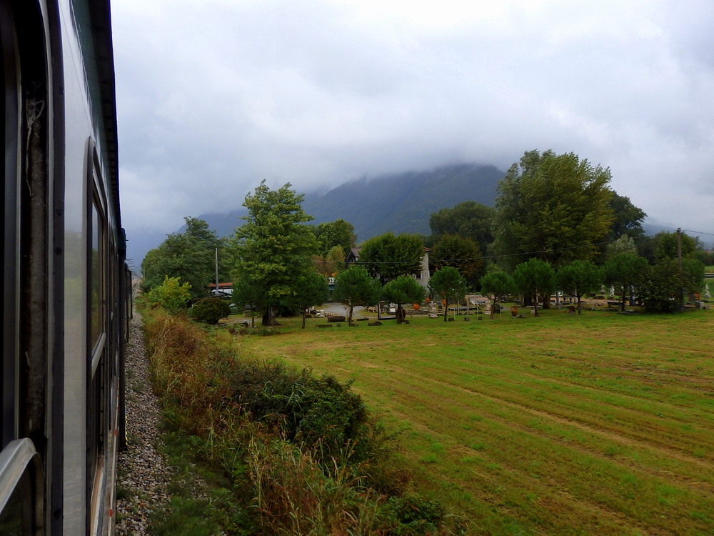 Scenic train ride in the Lombardy region of Italy