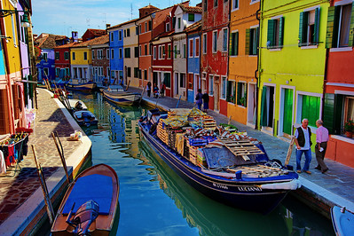 In Burano, the groceries are delivered by boat.