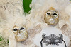 Closeup of masks in the Venetian vlllage of Burano, Venice, Italy, Europe.