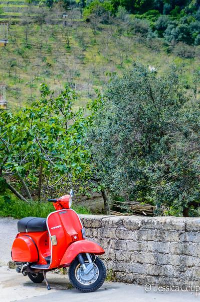 Red Vespa on the Amalfi Coast