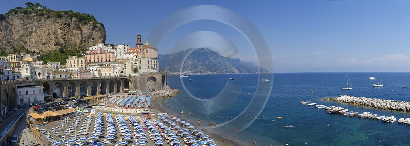 Atrani Tyrrhenian Sea Town Italy Campania Summer Viewpoint Photography Prints For Sale Art Printing - 013302 - 05-08-2013 - 18030x6426 Pixel