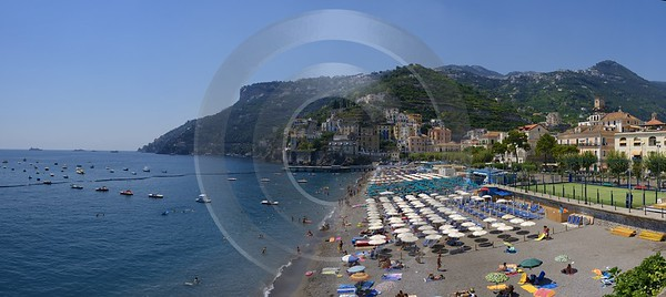 Minori Tyrrhenian Sea Town Italy Campania Summer Viewpoint Western Art Prints For Sale - 013276 - 05-08-2013 - 15039x6716 Pixel