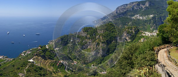 Ravello Tyrrhenian Sea Town Italy Campania Summer Viewpoint River Sunshine - 013257 - 05-08-2013 - 15520x6773 Pixel