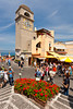 The clock tower in the town of Capri on the Island of Capri, Campania, Italy.