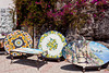 A display of ceramic table tops near Cetera along the Amalfi coast, Italy.