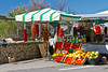 A roadside fruit and vegetable stand near Cetera along the Amalfi Coast, Italy.