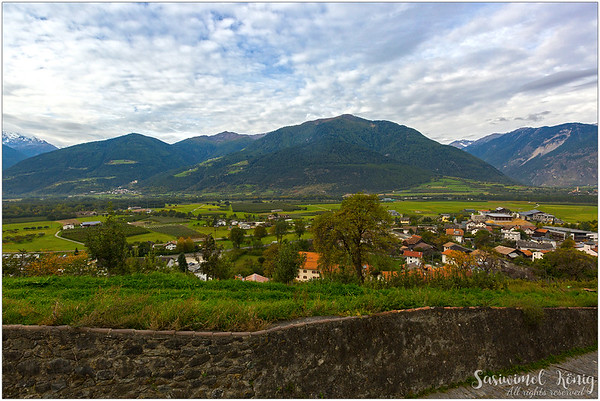 View of the village from Churburg Castle (IT: Castel Coira) in South Tyrol, Italy