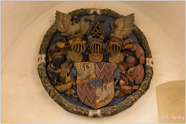 The Coat-of-arms of the Counts Trapp on the wall. Bustard (DE) = Trappe.